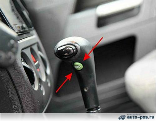 На фото – кнопка «Overdrive» на селекторе автоматической коробки передач