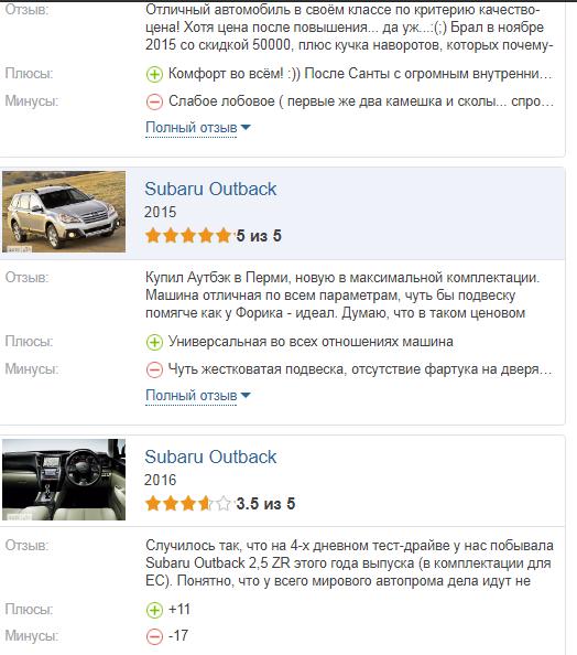 Subaru Outback отзывы