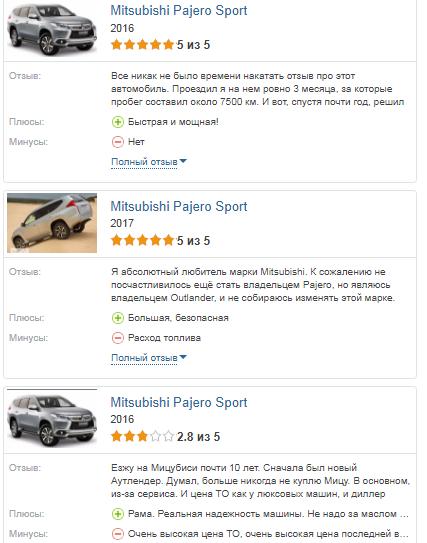 Mitsubishi Pajero Sport 2017 отзывы