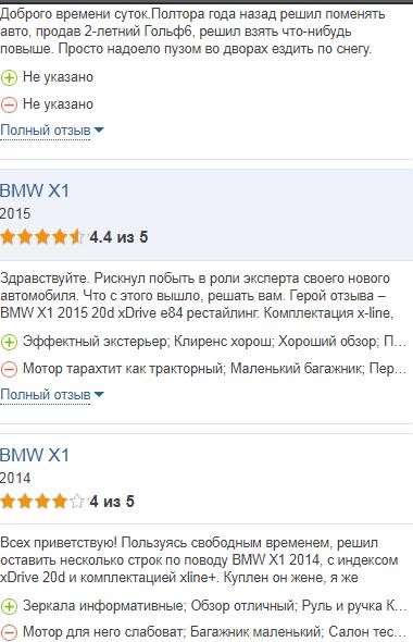 БМВ класса Х1 отзывы