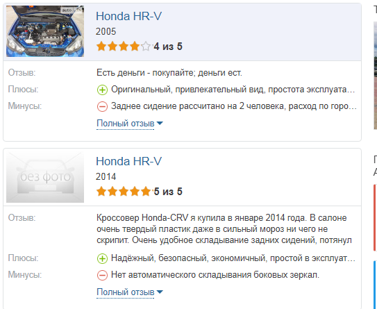 Honda HR V отзывы владельцев