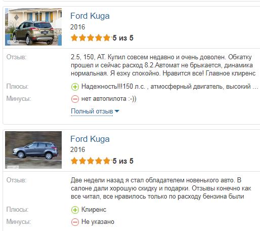 Форд Куга 2017 мнения владельцев