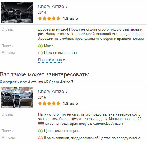 Chery Arrizo 7 отзывы владельцев
