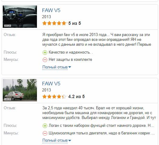 Faw V5 отзывы владельцев