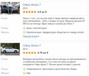 Chery Arrizo 7 отзывы