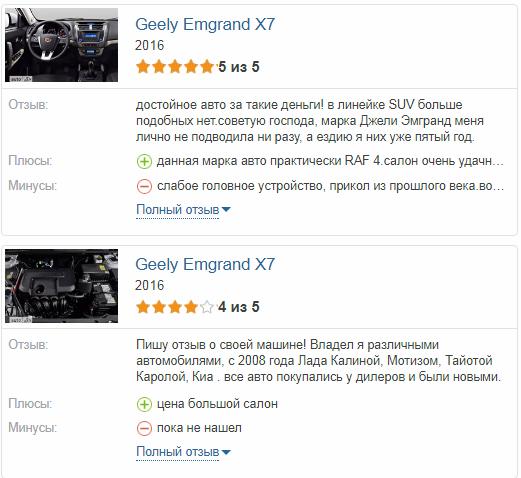 Geely GX7 отзывы владельцев
