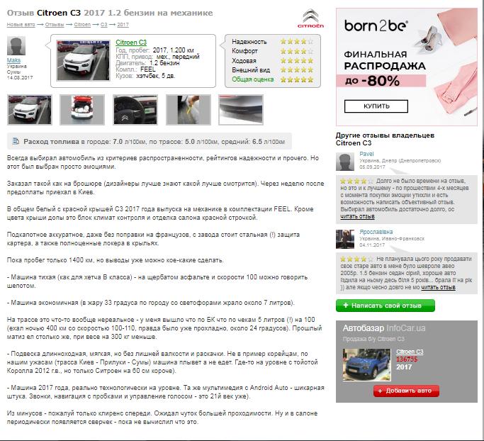 Отзыв о Citroen C3