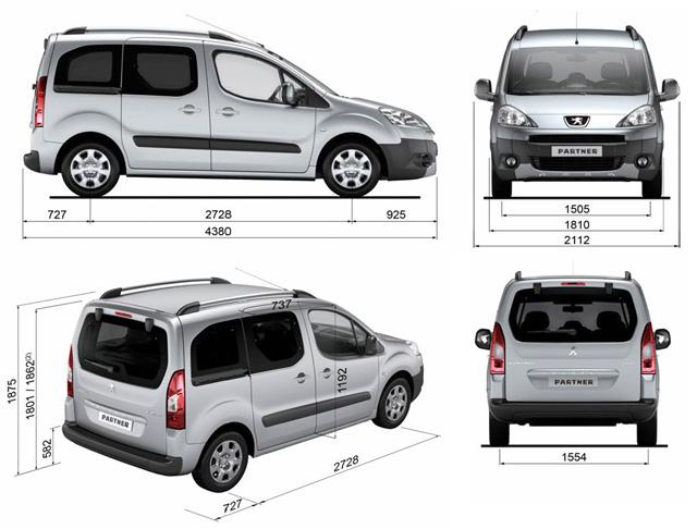 Peugeot Partner Tepee размеры