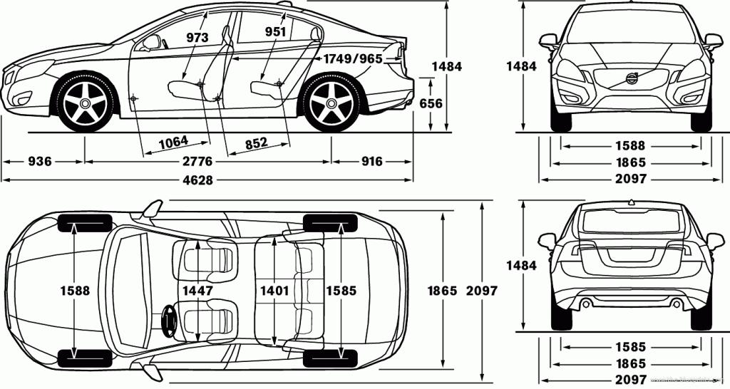 размеры Volvo S60