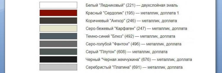 диапазн выбора цвета. Lada Vesta