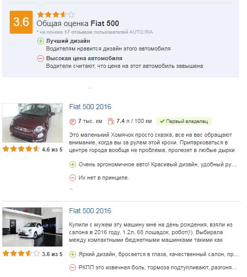отзывы о Fiat 500