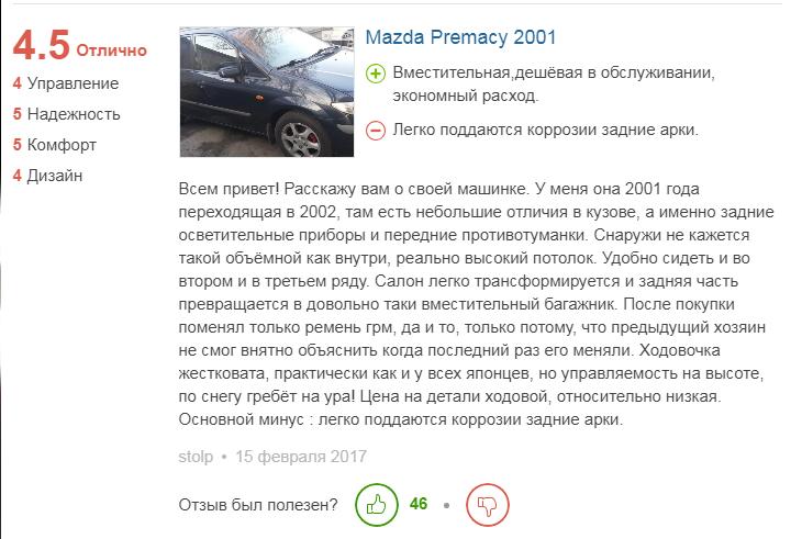 отзыв о Mazda Premacy